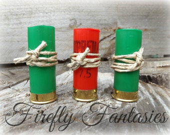 Shot Gun Wedding Boutonniere Holders - Emptied shot shells Rustic Recycled Red Green Bullet Men's Groom Deer Duck Hunting Lapel hemp twine