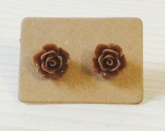 Small chocolate rose earrings