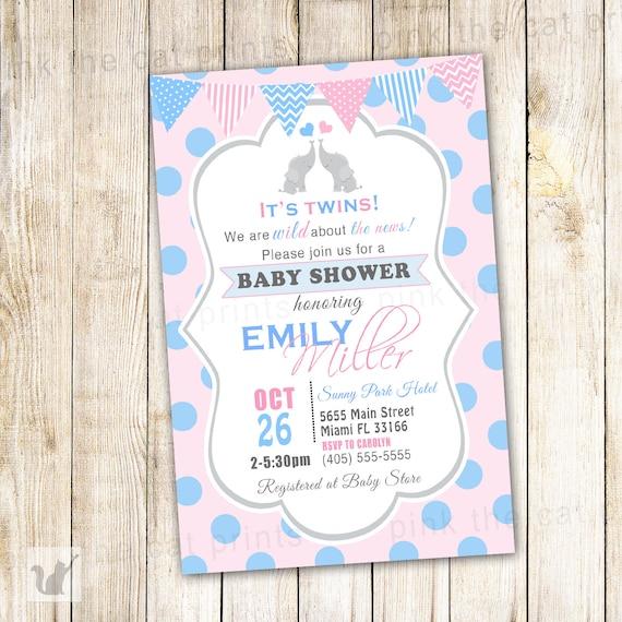elephant baby shower invitation printable by pinkthecat on etsy
