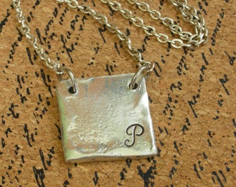 Pewter Initial Necklace-Custom Necklace-Handstamped Necklace-Custom Choker-Handstamped Pewter Necklace