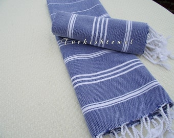 Turkishtowel-NEW Set of 2-Hand woven Peshkirs-Hand towels,Tea towels,Dish towels,Neck Warmers,Bath Towels-White stripes on Sailor Blue