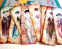 Bookmarks - Vintage Fashion Ladies Edwardian Women Models In Dresses And Hats Turn Of The Century Style - Set Of 8 Small Paper Bookmarks