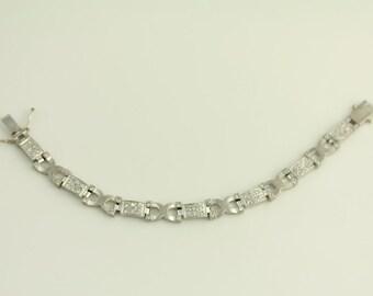 Vintage Sterling Silver Bracelet Brilliant CZ Link Unique Design (ET04 )