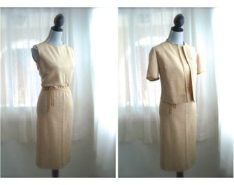1960s's Two-Piece  Metallic Gold Space Age Sheath Dress With Matching Jacket, Size Small to Medium