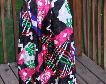 1980s Multicolored Skirt, Hot Pink and Green Print skirt, Spring or summer skirt, pretty abstract Mod Look skirt, polyester skirt