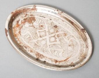 Antique small metal tray, original rustic patina