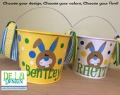 Personalized Easter basket, 5 quart metal bucket, name or monogram, bunny design, other colors available, Easter, Halloween, Baby, Birthday