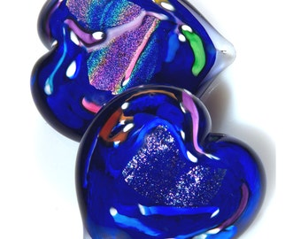 Pretty Lapis Blue Heart Paperweight. Solid Glass Heart.  Valentines Day. Hand Formed Art Glass.  Made in Seattle. Artist Dehanna Jones.