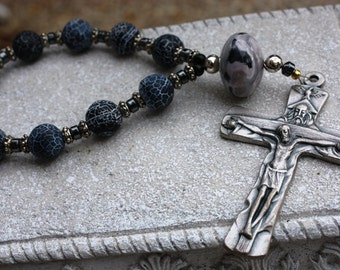 Rosary Chaplet in Dark Blue Matte Crackle Agate with Trinity Crucifix