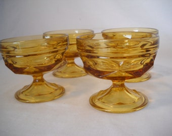 Vintage Dessert Dishes/Amber Anchor Hocking Footed Glass/Amber Compote Glasses