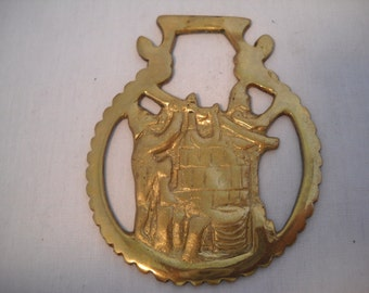 Vintage Horse Brass Harness Plaque Buckle/Horse Buckle/Brass Buckle