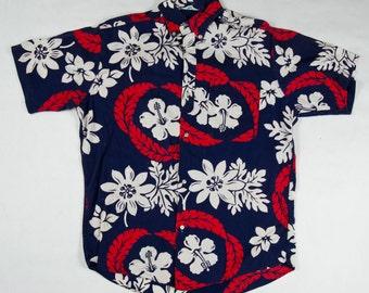 1960s Hawaiian Shirt Tahiti Papeete - Red White Blue Tropical Floral Size M L