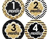 Baby Month Stickers FREE Baby Month Milestone Sticker Baby Monthly Sticker Girls Bodysuit Sticker Baby Gift Chevron Glitter Gold Black 105G