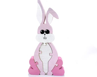 Easter Bunny Puzzle and Decor in Pink