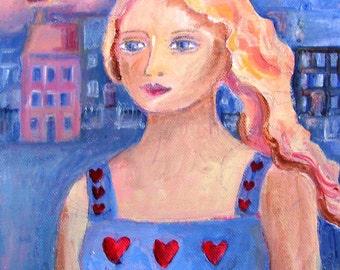 Sweetheart Like You -  Original Acrylic Painting - on artists canvas board -SALE