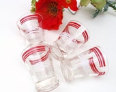 Vintage Red White Juice Glasses Retro Striped Barware Lowball Glasses Set of 4
