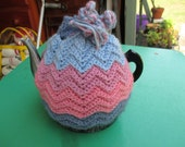 Vintage Tea Cozy - Pink, Mauve and Blue Patterned - Crocheted Vintage Style for your teapot.