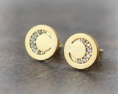 Disc Moon Earrings / choose your color / gold and silver