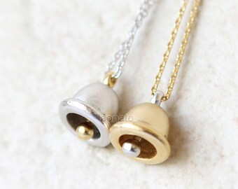 Bell necklace / jingle bell Holiday, choose your color, gold and silver