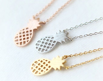 Pineapple Necklace / fruit necklace, choose your color, gold, silver, pink