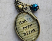 Don't Blink Necklace -  Doctor Who Jewelry - DON t  Even  BLINK  -  Weeping Angels Necklace with Tardis Key