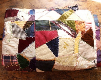 Vintage Handmade Crazy Quilt - Patchwork Bedspread