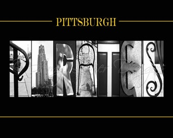 Pittsburgh Pirates Baseball Alphabet Photography Letter Art - (various sizes)