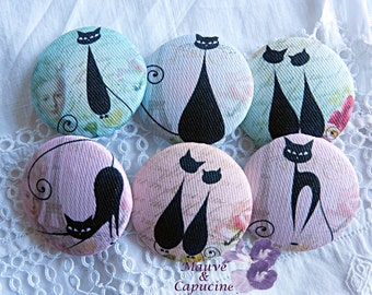 6 fabric buttons,  amazing cats,  0.86 in / 22 mm