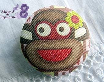Fabric buttons, monkey, 0.78 in / 20 mm
