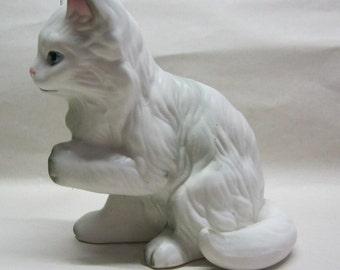 Lefton Kitty Figure Gray White Cat Kitten Vintage Figurine
