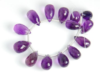 16 beads: Grade AAA quality amethyst tear drops, 9x5mm to 10x6mm