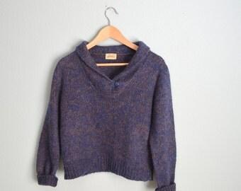 Vintage 80s Heathered Purple Blue Wool Blend Shawl Neck Cropped Cozy Winter Sweater // womens medium