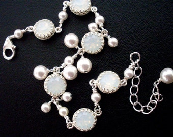Milky white rhinestone bracelet, pearl dangles, pearl crystal bridal bracelet, White Opal Austrian crystal, white bridal jewelry