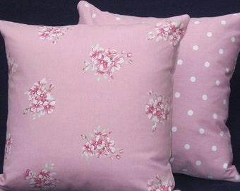 Pink Pillow Covers, shabby Chic Cushion Covers, Pink Polka Dot Pillow Case, Pink Floral Cushion Cover, Cottage Chic Pillow Sham, 16 x 16