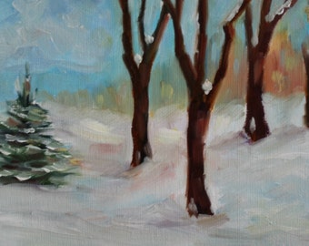 Original oil painting - Landscape painting - small oil painting - winter landscape - tree painting - snow painting - fine art - home decor