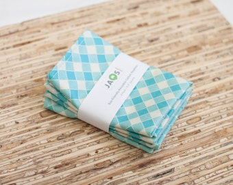 Small Cloth Napkins - Set of 4 - (N1848s) - Aqua Gingham Modern Reusable Fabric Napkins