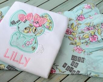 Girls Aqua Floral Easter Bunny Shirt &  Ruffle Pant Set Outift