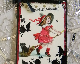 Little Miss Mischief Decoupage Decorative Plaque Wall Hanging