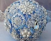 Luxury Vintage Bridal Brooch Bouquet - Pearl Rhinestone Crystal - Silver Light Blue Grey - BB055LX