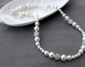 SALE Bridal Pearl Rhinestone Necklace Crystal Wedding Jewelry White or Ivory NK058LX