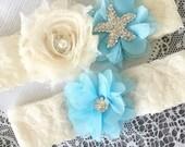 Wedding Garter Bridal Garter Light Blue Garter Set Lace Garter Ivory Rhinestone Crystal Starfish Garter Beach Wedding GR120LX
