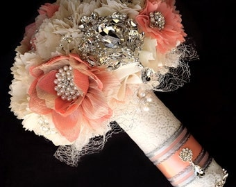 SALE Ready to Ship Vintage Bridal Brooch Bouquet - Pearl Rhinestone Crystal - Silver Peach Pink Ivory  BB050LX