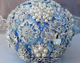 Luxury Vintage Bridal Brooch Bouquet - Pearl Rhinestone Crystal - Silver Light Blue Grey - BB055LX