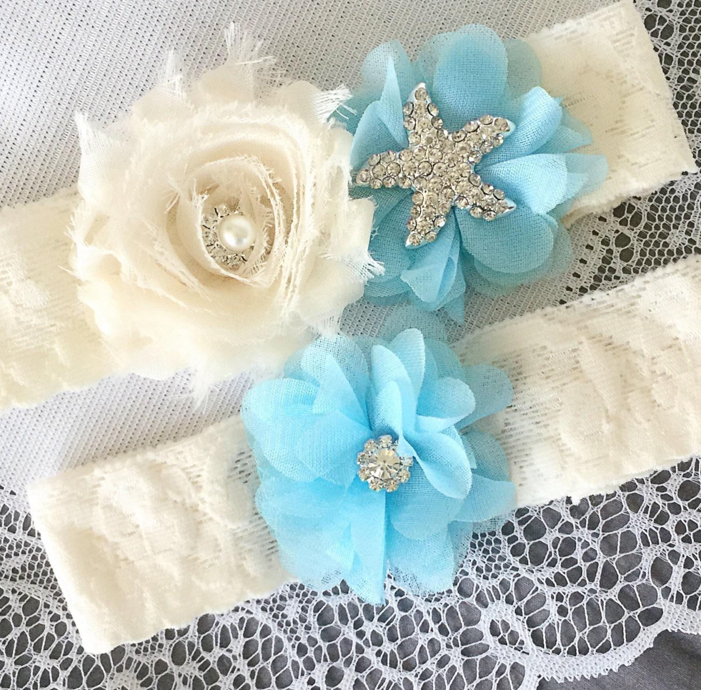 Beach Wedding Garter: Wedding Garter Bridal Garter Light Blue Garter Set Lace Garter