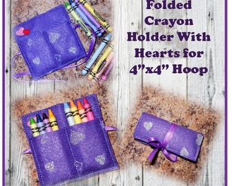 In The Hoop 4x4 Folding Crayon Holder Embroidery Machine Design