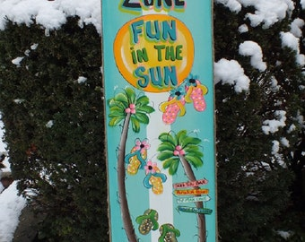 Personalized SPLASH ZONE SURFBOARD - Wall Art Tropical Paradise Pool Patio Beach House Hot Tub Tiki Bar Hut Parrothead Handmade Wood Sign