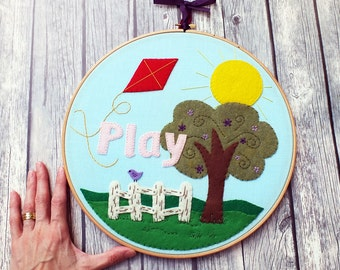 Personalized nursery sign, Nursery decor, customized Embroidery hoop art, baby name art, Baby shower gift, playroom décor, children wall art