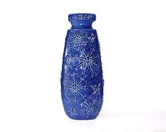 """Rare XXL Mid Century """"Kosmos"""" Floor Vase  Blue - Scheurich 70s"""