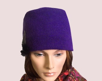 Stunning Purple Bucket Hat, Cashmere Blend Beanie with Leather and Fur Flower Trim, Soft and Stretchy