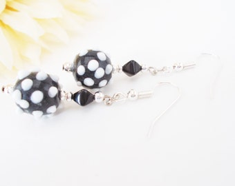 Lampwork Earrings, Black White Earrings, Clip On Earrings, Polka Dot Earrings, Czech Glass Drop Earrings, Beaded Earrings, Black Dangle